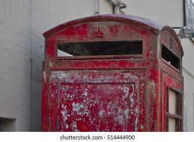 TURIN, ITALY - CIRCA SEPTEMBER 2016: Abandoned British red telephone box