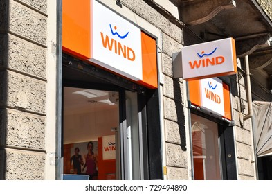 TURIN, ITALY, CIRCA SEPTEMBER 2017: a shop window of Wind, a mobile phone service brand.