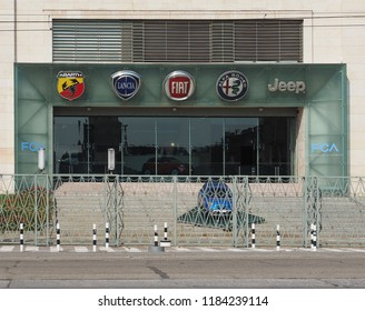 TURIN, ITALY - CIRCA SEPTEMBER 2018: Fiat Chrysler Automobiles (FCA) Mirafiori car factory for Fiat, Lancia, Alfa Romeo, Jeep and Abarth brands