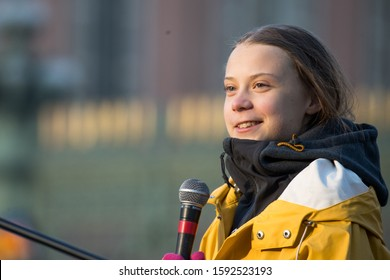 Turin, Italy, December 10 2019. The 16-year-old environmental activist Greta Thunberg, newly elected person of the year of Time Magazine, speaks Friday for the Future in Turin.