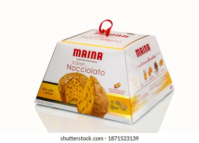 TURIN, ITALY - DECEMBER 10, 2020: box packaging of panettone gran nocciolato Maina isolated on white background