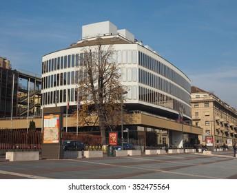 TURIN, ITALY - DECEMBER 16, 2015: Turin Commerce Chamber building designed by Italian architect Carlo Mollino
