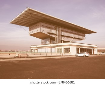 TURIN, ITALY - DECEMBER 16, 2015: Pinacoteca Agnelli art gallery designed by Renzo Piano at Lingotto former Fiat car factory vintage