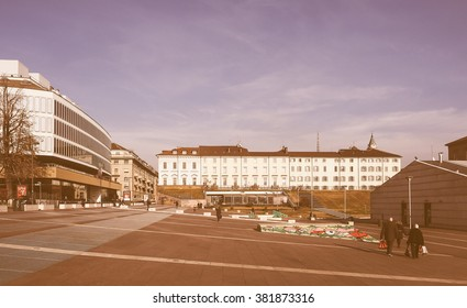 TURIN, ITALY - DECEMBER 16, 2015: Piazzale Valdo Fusi square with a jazz club, a beer garden, the Museum of Natural History, the Chamber of Commerce vintage