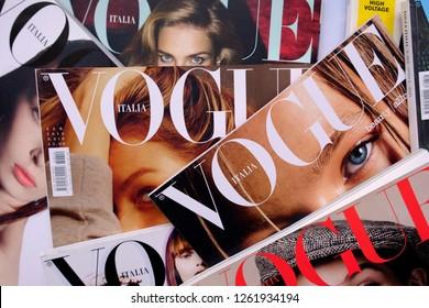 Turin, Italy - December 18, 2018: Pile of italian Vogue magazines