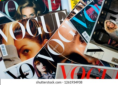 Turin, Italy - December 18, 2018: Pile of italian Vogue magazines