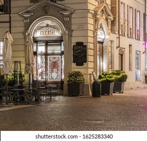 Turin, Italy - December 2, 2019: In Piazza Carignano, ancient pharmacy (1833) now transformed into a bistro, ice cream shop, patisserie, café and delicatessen.