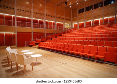 Turin, Italy - december 2018: Empty theater, auditorium, cinema and conference hall.