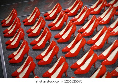 Turin, Italy - December 2018: red pumps shoes in an exhibition dedicated to Marylin Monroe