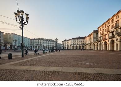 Turin, Italy, Europe 01.01.2019  View on Piazza Vittorio Veneto, Turin