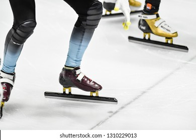 TURIN, Italy - february 09 2019: generic athelete blades detail at start during ISU Short Track World Cup 2018-19 at PalaTazzoli in Turin.