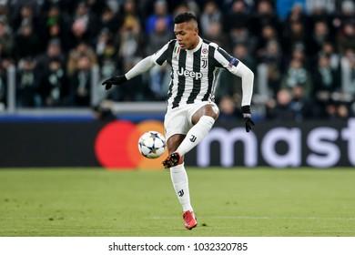 Turin, Italy. February 13, 2018. UEFA Champions League, Juventus - Tottenham 2-2. Alex Sandro, Juventus.