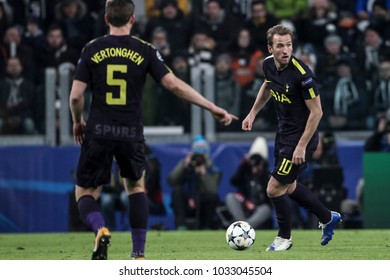Turin, Italy. February 13, 2018. UEFA Champions League, Juventus - Tottenham 2-2. Harry Kane, Tottenham.