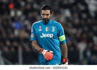 Turin, Italy. February 13, 2018. UEFA Champions League, Juventus - Tottenham 2-2. Gianluigi Buffon, goalkeeper Juventus.