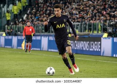 Turin, Italy. February 13, 2018. UEFA Champions League, Juventus - Tottenham 2-2. Dele Alli, Tottenham.