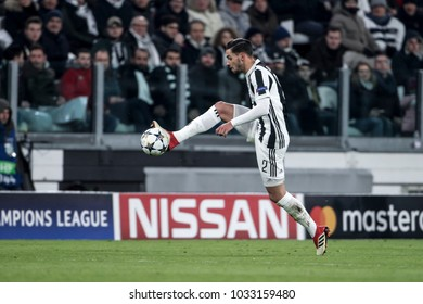 Turin, Italy. February 13, 2018. UEFA Champions League, Juventus - Tottenham 2-2. Mattia De Sciglio, Juventus.