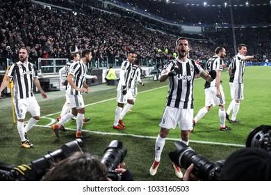 Turin, Italy. February 13, 2018. UEFA Champions League, Juventus - Tottenham 2-2. Miralem Pjanic, Juventus, celebrating.