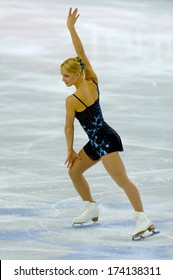 TURIN, ITALY - FEBRUARY 24, 2006: Kiira Korpi (Finland) performs during the Winter Olympics female's final of the Figure Ice Skating.