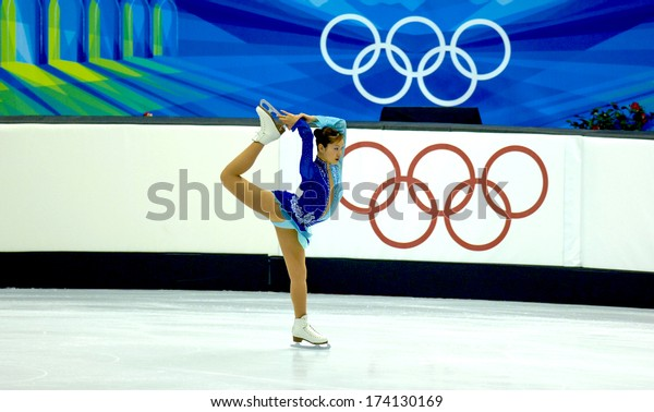 TURIN, ITALY- February 24, 2006: Arakawa Shizuka (Japan) competing during the Winter Olympics female Finale of Ice Figure Skating.
