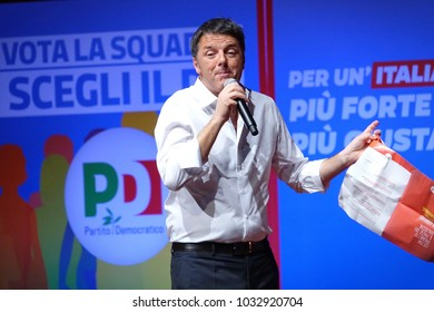 Turin, Italy - February 25, 2018:  The election campaign of Matteo Renzi for Italian national parliamentary elections