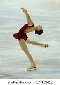 TURIN, ITALY - FEBRUARY 26, 2006: Sasha Cohen (USA) performs during the Winter Olympics female's final of the Figure Ice Skating.