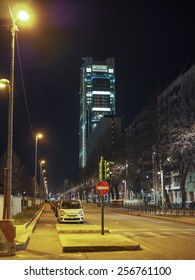 TURIN, ITALY - FEBRUARY 26, 2015: Night view of the new San Paolo skyscraper designed by Renzo Piano which is the highest building in town