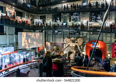 Turin, Italy - January 01, 2016: tourists visit National Museum of Cinema in Turin, Italy. The Museum is one of the most important of its kind in the world.
