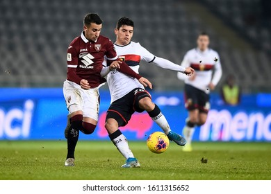 TURIN, ITALY - JANUARY 09, 2020: Alejandro 'Alex' Berenguer (L) of Torino FC competes for the ball with Kevin Agudelo of Genoa CFC