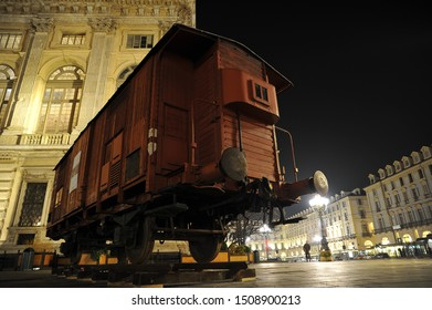 TURIN, ITALY - JANUARY 2015: Outside of the exhibition about Primo Levi showing the train wagon where the writer has been  deported to the concentration camp