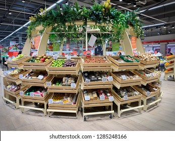 Turin. Italy - January 2019: new organic fruit and vegetable department of the Auchan supermarket