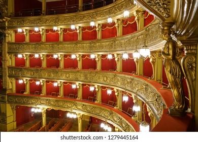 TURIN, ITALY - JANUARY 2019: Teatro Carignano theatre