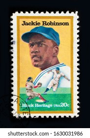 TURIN, ITALY - JANUARY 29, 2020: A stamp printed in USA showing Jackie Robinson, circa 1982