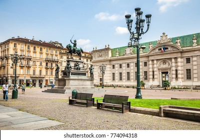 Turin, Italy - July 08, 2016: Equestrian monument to the king Charles Albert of Sardinia in Piazza Carlo Alberto in Turin.