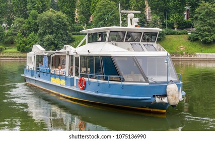 Turin Italy - July 1, 2012: River boat on the Po river, in summer.