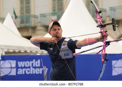 TURIN, ITALY - JULY 10: ELLISON Brady (USA) competes at round for bronze at the 2011 World Archery and Para Archery Championships, on July10, 2011 in Turin, Italy.