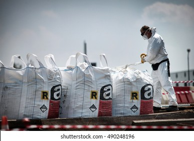Turin, Italy - July 2013: asbestos disposed of in the landfill of industrial waste