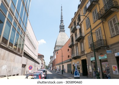 Turin, Italy - july 21, 2015: Street in Turin center with view on The Mole Antonelliana
