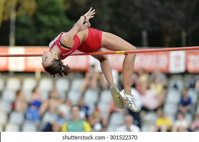 TURIN, ITALY - JULY 25: Sesia Debora perform high jump during Turin 2015 Italian Athletics Championships at the Primo Nebiolo Stadium on July 25, 2015 in Turin, Italy.