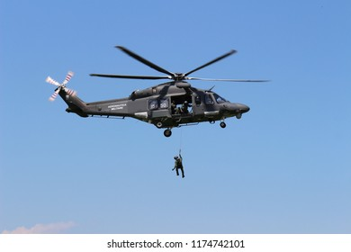 Turin, Italy - July 3, 2016: AgustaWestland AW139 helicopter during Turin Airshow