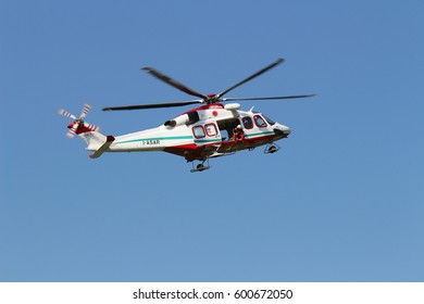 Turin, Italy - July 3, 2016: AgustaWestland AB139 helicopter during Turin Airshow