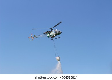 Turin, Italy - July 3, 2016: Aerospatiale SA 315B Lama helicopter during Turin Airshow