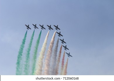 Turin, Italy - July 3, 2016: Italian acrobatic team Frecce Tricolori (Tricolor arrows) performs a show at the Turin Airshow