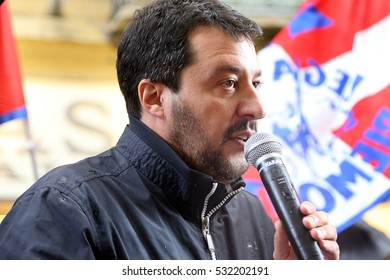 "Turin, Italy: June 1, 2016. Demonstrators contest the anti-immigration Lega Nord Party leader, Matteo Salvini, visiting Turin: ""Porta Palazzo"", symbol of emigration, and the centre."
