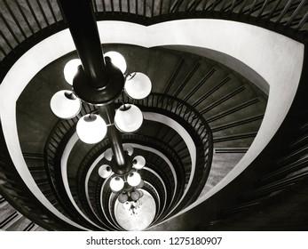Turin, Italy- june 10 2017- staircase of the architect Carlo Mollino