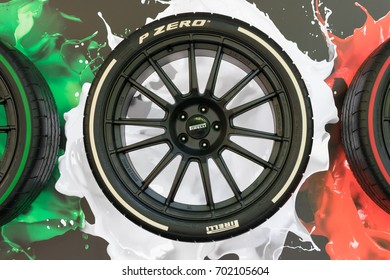 TURIN, ITALY - JUNE 10, 2017: Pirelli P Zero tyre on display at Turin open air car show