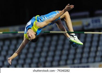 TURIN, ITALY - JUNE 10: Bondarenko Bodan (UKR) performs high jump during the 2011 Memorial Primo Nebiolo track and field athletics international meeting, on June 10, 2011 in Turin, Italy.