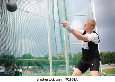 TURIN, ITALY - JUNE 10: Litvinov Sergei (GER) performs hammer throw during the 2011 Memorial Primo Nebiolo track and field athletics international meeting, on June 10, 2011 in Turin, Italy.