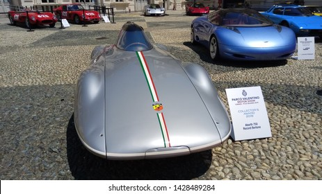 Turin, Italy - June 19 2019: Motor show at Valentine Park, Castle court with super cars parade. Abarth.
