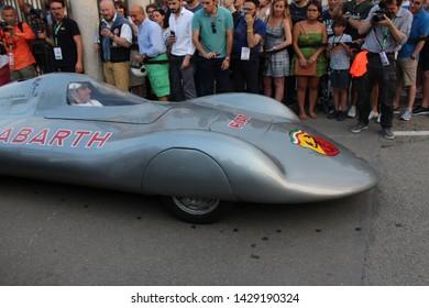 Turin, Italy - June 19 2019: Motor Show at Valentine Park. Car parade: Fiat Abarth.
