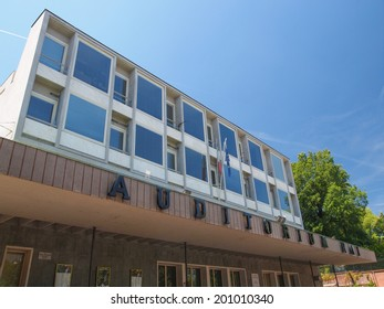 TURIN, ITALY - JUNE 20, 2014: The Auditorium RAI music hall designed by architect Carlo Mollino in 1958 and dedicated to music director Arturo Toscanini is a masterpiece of modern architecture